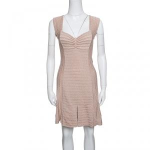 M Missoni Beige Lurex Patterned Knit Sleeveless Dress S