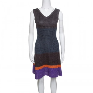 M Missoni Metallic Striped Colorblock Perforated Knit Fit and Flare Dress S