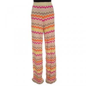 M Missoni Multicolor Lurex Knit Chevron Pattern Elasticized Waist Pants M