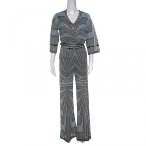 M Missoni Multicolor Lurex Knit Jumpsuit and Wrap Cardigan Set S