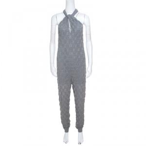 M Missoni Grey Lurex Patterned Knit Twist Neck Strap Detail Jumpsuit S