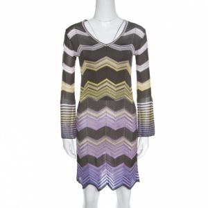 M Missoni Multicolor Chevron Patterned Perforated Long Sleeve Dress S