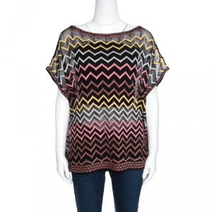 M Missoni Multicolor Chevron Patterned Perforated Oversized Top M