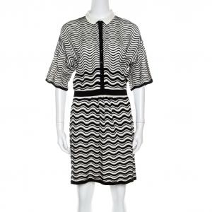 M Missoni Monochrome Wave Patterned Knit Collared Short Sleeve Dress M