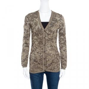 M Missoni Metallic Lurex Jacquard Knit Cardigan M