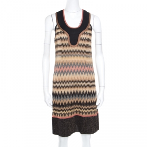 M Missoni Mutlicolor Patterned Lurex Knit Sleeveless Dress M