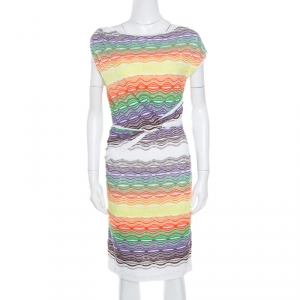 M Missoni Multicolor Perforated Knit Twist Front Detail Sleeveless Dress S