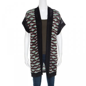 M Missoni Multicolor Perforated Knit Front Open Short Sleeve Cardigan M