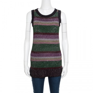 M Missoni Multicolor Patterned Lurex Knit Fuzzy Trim Detail Sleeveless Top S