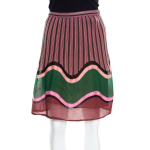 M Missoni Multicolor Stripe and Wave Patterned Knit A Line Skirt S