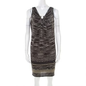 M Missoni Multicolor Lurex Chevron Perforated Knit Sleeveless Dress S