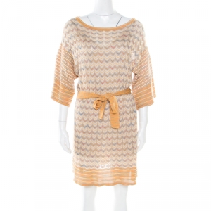 M Missoni Multicolor Patterned Perfroated Knit Boat Neck Belted Dress M