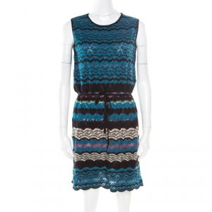 M Missoni Multicolor Perforated Patterned Knit Sleeveless Dress M