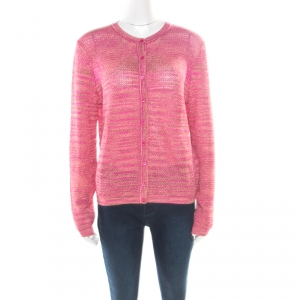 M Missoni Fuchsia Pink Lurex Knit Button Front Cardigan L