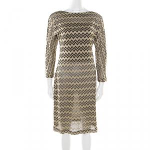 M Missoni Gold Chevron Patterned Lurex Knit Scoop Back Tie Detail Dress M