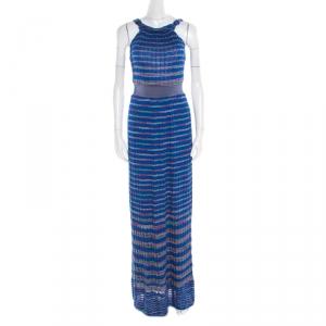 M Missoni Blue Patterned Knit Twist Neck Detail Maxi Dress S