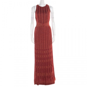 M Missoni Red Lurex Perforated Knit Cutout Back Detail Maxi Dress S
