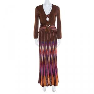 M Missoni Multicolor Lurex Knit Cutout Bodice Detail Dress and Shrug Set S