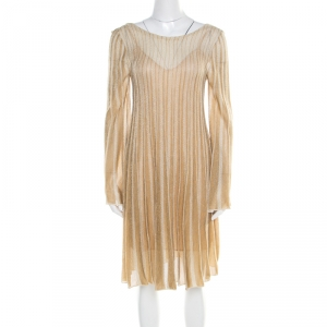 M Missoni Metallic Gold Perforated Knit Back Tie Detail Dress M