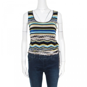 M Missoni Multicolor Striped Perforated Knit Side Tie Detail Sleeveless Top S - used