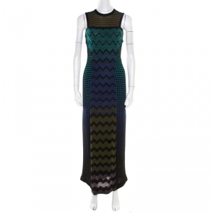 M Missoni Multicolor Patterned Jacquard Knit Sleeveless Maxi Dress S