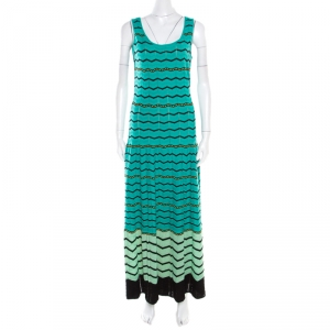 M Missoni Green Chevron Patterned Perforated Knit Sleeveless Maxi Dress M