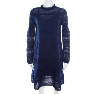 M Missoni Blue Textured Jacquard Knit High Neck Shift Knitted Short Dress M