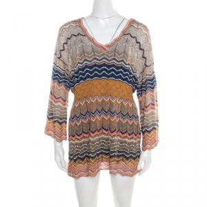 M Missoni Multicolor Lurex Perforated Chevron Patterned Knit Tunic M