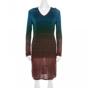 M Missoni Multicolor Perforated Knit Chevron Pattern V-Neck Dress M