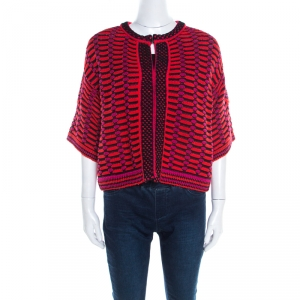 M Missoni Multicolor Textured Chunky Knit Cropped Cardigan M