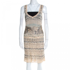 M Missoni Beige Wave Pattern Perforated Knit Wait Tie Detail Sleeveless Dress M