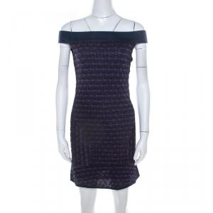 M Missoni Multicolor Patterned Lurex Knit Off Shoulder Dress M used