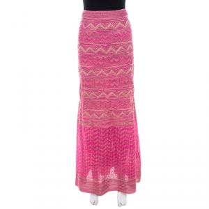M Missoni Pink Lurex Knit Chevron Paneled Maxi Skirt S