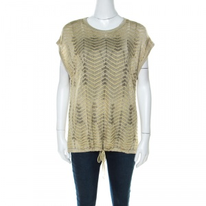 M Missoni Gold Lurex Knit Hem Tie Detail Sleeveless Top M - used