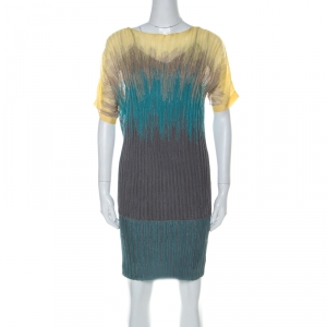 M Missoni Multicolor Knit Ombre Effect Short Sleeve Dress S