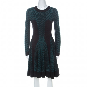 M Missoni Green Black and Purple Textured Knit Paneled Skater Dress M