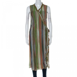 M Missoni Multicolor Crochet Knit Lurex Detail Ruffle Trim Front Tie Sleeveless Cardigan L