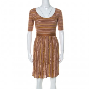M Missoni Brown Striped Knit Scoop Neck Short Sleeve Dress M