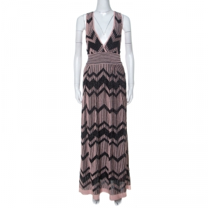 M Missoni Pale Pink and Black Chevron Pattern Lurex Knit Maxi Dress M
