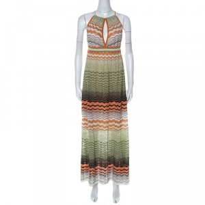 M Missoni Multicolor Wave Knit Halter Neck Maxi Dress M