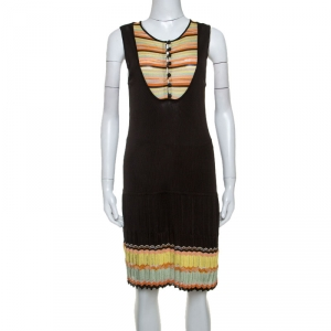 M Missoni Dark Brown Rib Knit Sleeveless Short Dress M