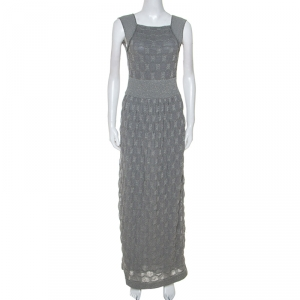 M Missoni Grey Lurex Knit Open Back Long Dress M