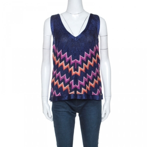 M Missoni Multicolor Chevron Lurex Knit Sleeveless Top L