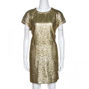 M Missoni Gold Textured Lurex Shift Dress L