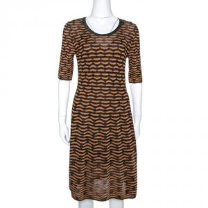 M Missoni Black & Gold Textured Lurex Knit A Line Dress M
