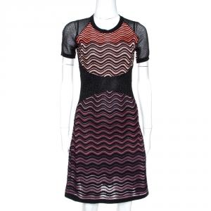 M Missoni Multicolor Lurex Textured Knit A Line Dress S