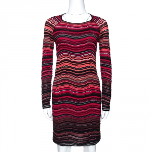 M Missoni Red Wave Pattern Textured Knit Long Sleeve Dress S