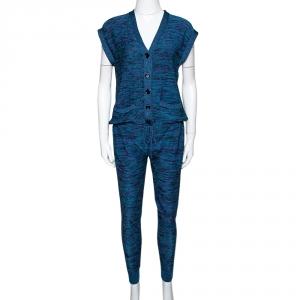 M Missoni Blue Lurex Knit Cap Sleeve Jumpsuit S