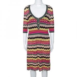 M Missoni Multicolor Chevron Cotton Linen Knit A Line Dress L