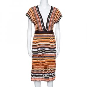 M Missoni Orange & Brown Striped Knit Plunge Neck Dress M